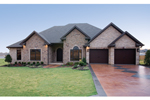 Traditional House Plan Front Photo 01 - Luxury One Story House | Traditional Ranch House