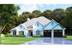 Traditional House Plan Front Photo 02 - Luxury One Story House | Traditional Ranch House