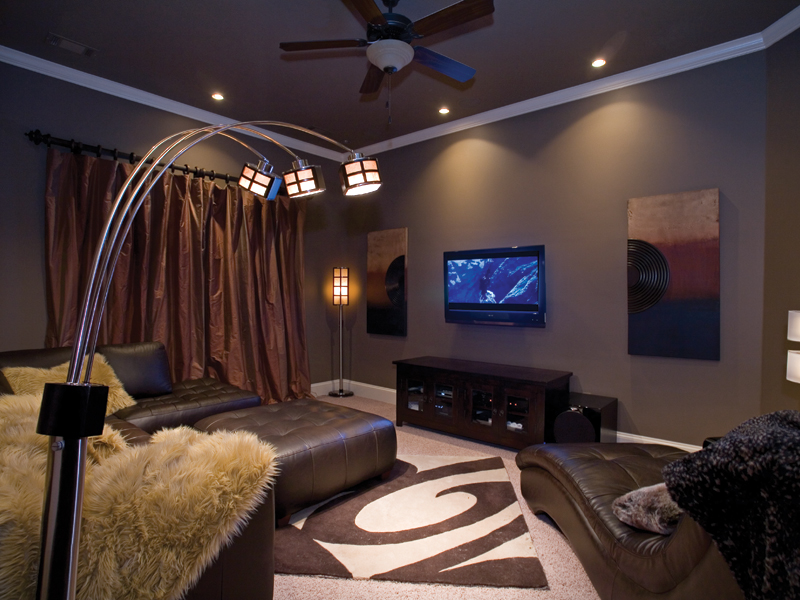 Traditional House Plan Theater Room Photo 01 - Luxury One Story House | Traditional Ranch House