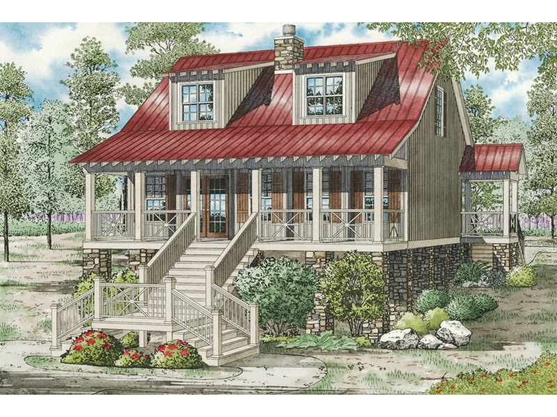Leslie Pier Raised Cottage Home Plan 055D-0816   House Plans ... on raised beach house designs, low country cottage plans, raised creole cottage, greek revival home plans, new orleans home plans, shotgun home plans,