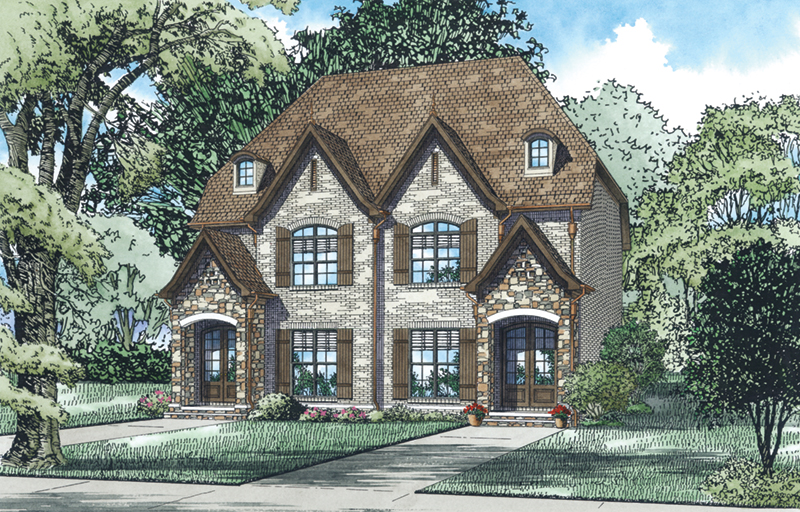English Cottage House Plan Front of Home - McCarroll Duplex 055D-0931 | House Plans and More