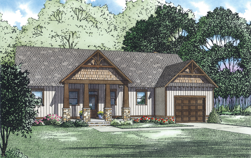 Lake House Plan Front of Home - Aspen Edge Craftsman Home 055D-0933   House Plans and More