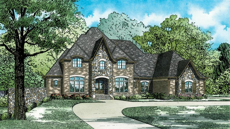 Country French House Plan Front of Home - Bridgerstone Luxury Home 055D-0934   House Plans and More