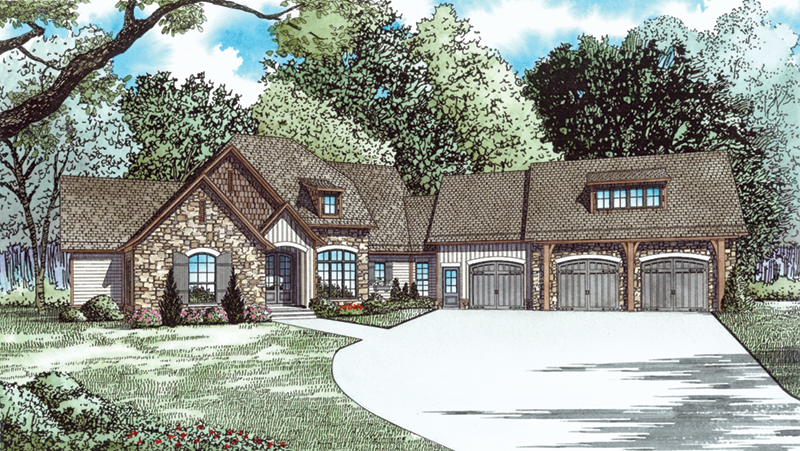 Ranch House Plan Front of Home - Dellwood Drive European Home 055D-0937 | House Plans and More