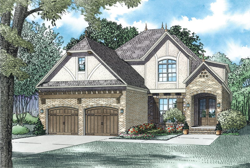 English Cottage House Plan Front of Home - Lindenwood Cove Tudor Home 055D-0938 | House Plans and More
