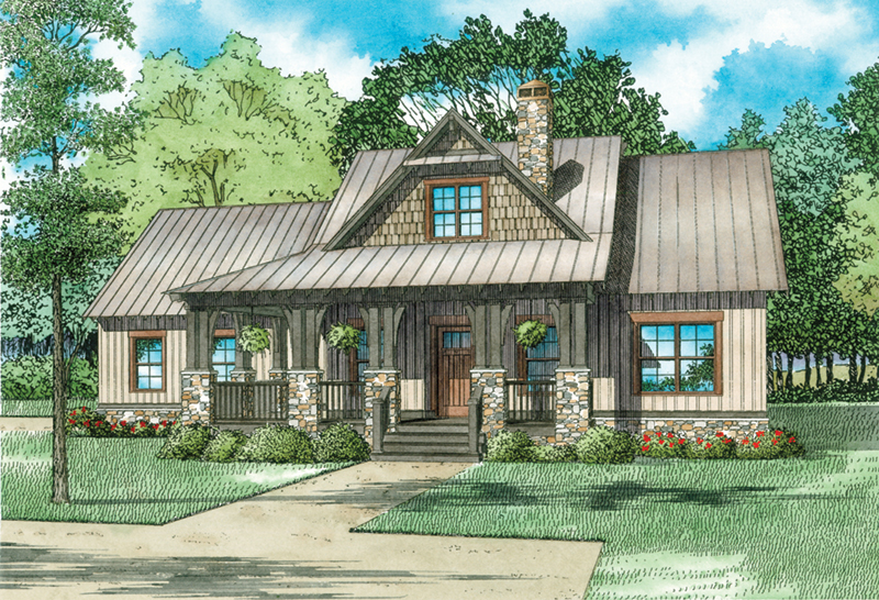 Country House Plan Front of Home - Weekend Retreat Craftsman Home 055D-0939   House Plans and More