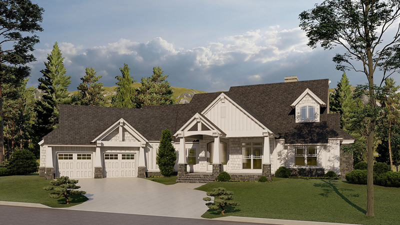 Arts & Crafts House Plan Front of Home - Blueridge Overlook Rustic Home 055D-0940 | House Plans and More