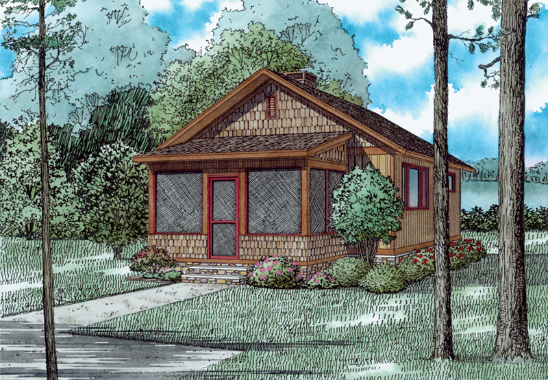 Shingle House Plan Front of Home - Ridge Summit Rustic cabin 055D-0942 | House Plans and More