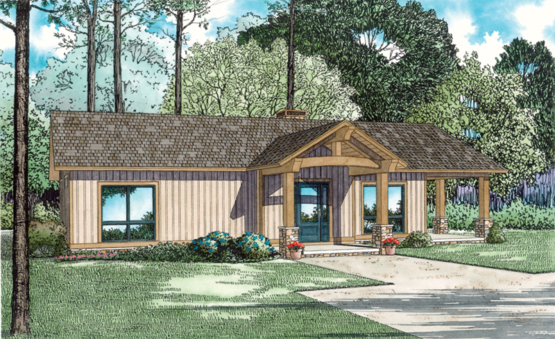 Lake House Plan Front of Home - Cozy Getaway Lake Cabin 055D-0944 | House Plans and More