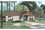 Ranch House Plan Front of Home - Cozy Getaway Lake Cabin 055D-0944 | House Plans and More