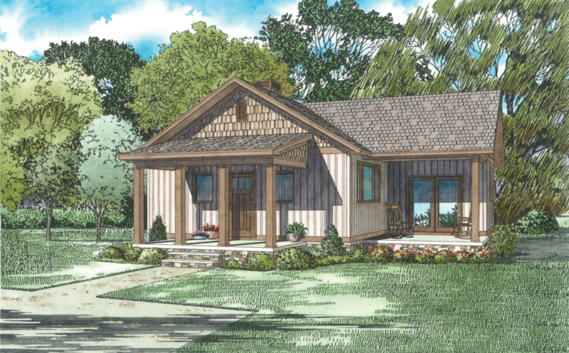 Country House Plan Front of Home - Moss Lake Rustic Cabin 055D-0945   House Plans and More