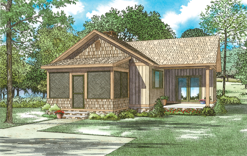 Ranch House Plan Front of Home - Moss Pond Rustic Cabin 055D-0946 | House Plans and More