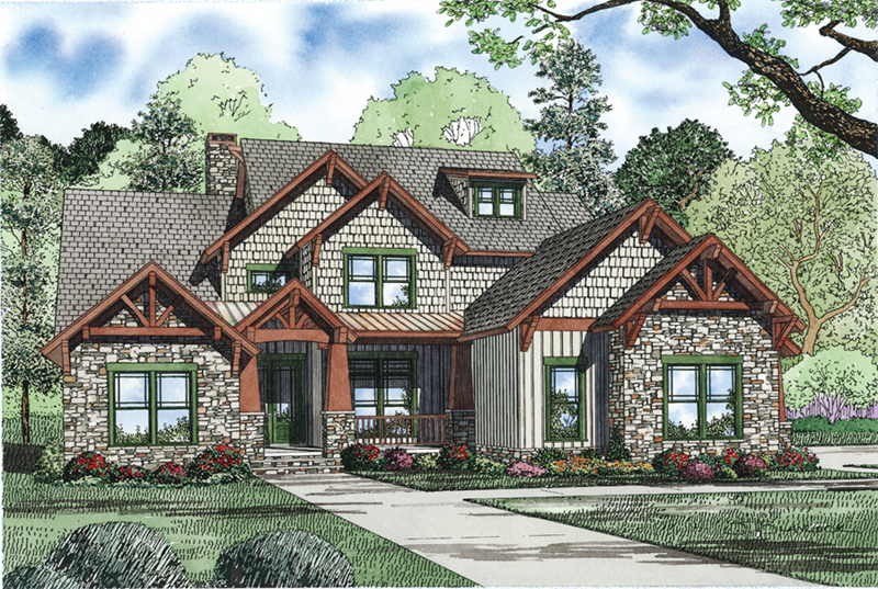 Southern House Plan Front of Home - Stoneboro Rustic Craftsman Home 055D-0954   House Plans and More