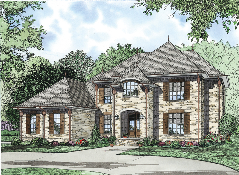 Country French House Plan Front of Home - Agnes Hill Luxury Home 055D-0956   House Plans and More