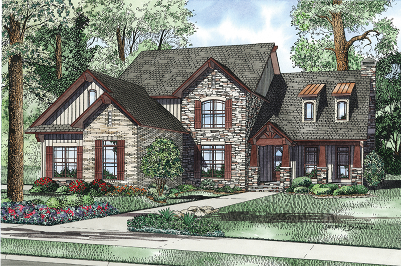 Mountain Home Plan Front of Home - Santee Trail Rustic Home 055D-0959 | House Plans and More