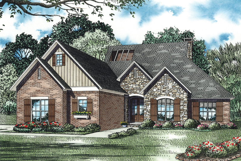 Traditional House Plan Front of Home - Layton Circle Ranch Home 055D-0962 | House Plans and More