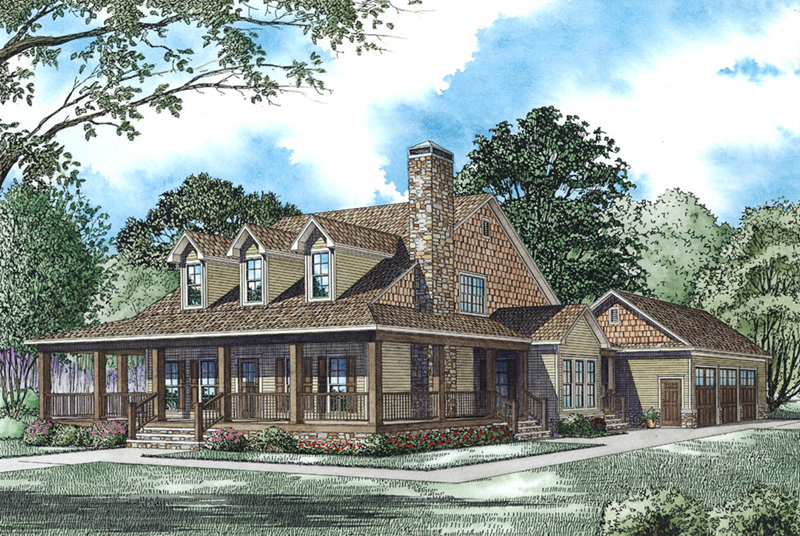 Modern Farmhouse Plan Front Image - Raven Ranch Country Home 055D-0976 | House Plans and More