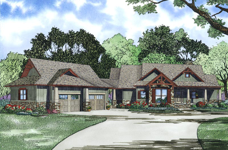 Lake House Plan Front Image - Meadford Country Ranch Home 055D-0977 | House Plans and More