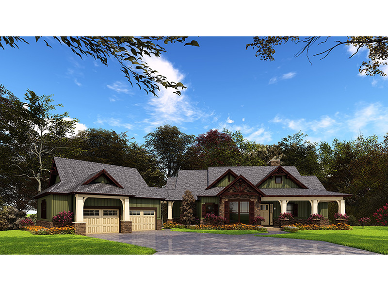 Beach & Coastal House Plan Front of Home - Meadford Country Ranch Home 055D-0977 | House Plans and More