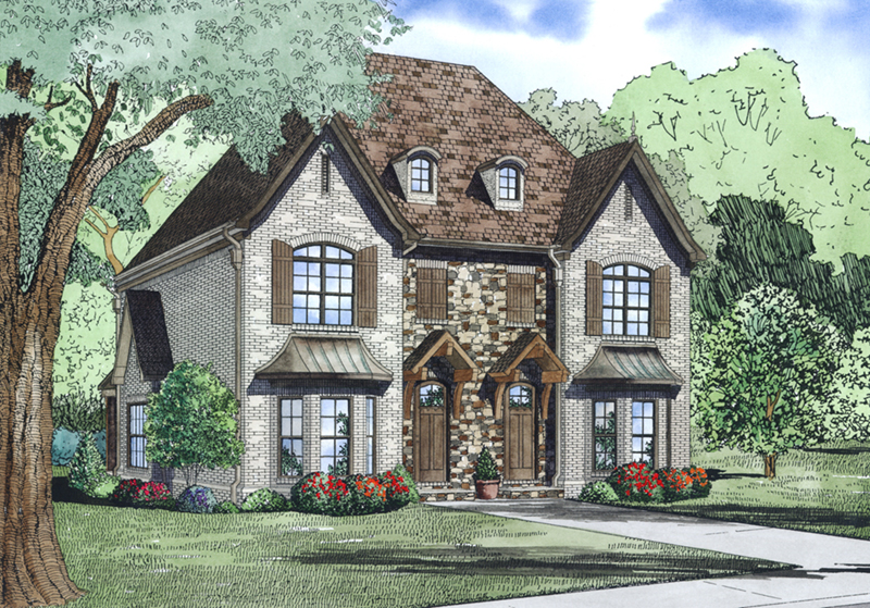 Country French House Plan Front of Home - Osperey Way Duplex Home 055D-1014 | House Plans and More