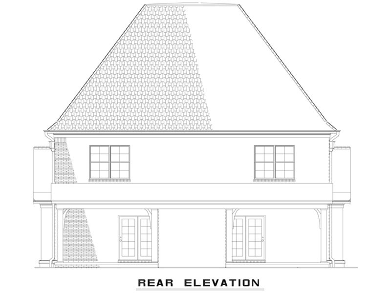 Country French House Plan Rear Photo 01 - Osperey Way Duplex Home 055D-1014 | House Plans and More