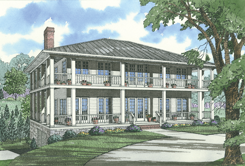 Beach & Coastal House Plan Front of Home - 055D-1079 | House Plans and More