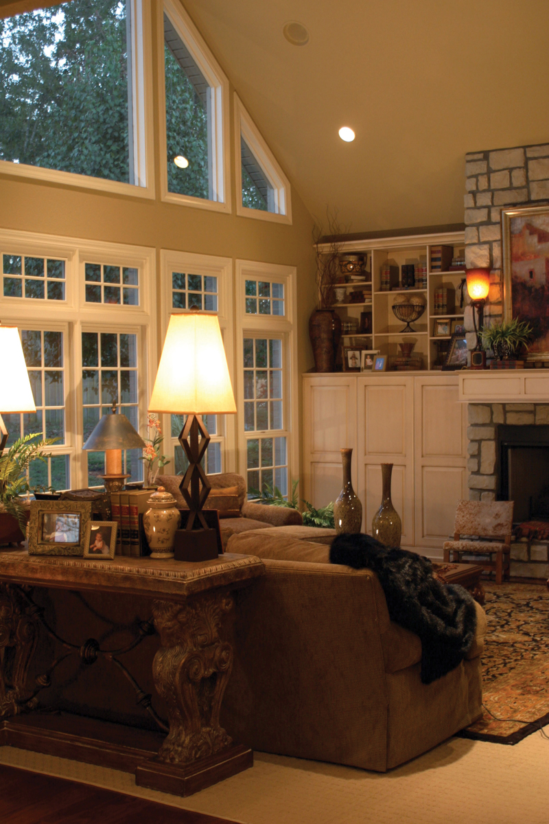 Country French House Plan Great Room Photo 01 - Patricia Luxury Home 055S-0027   House Plans and More