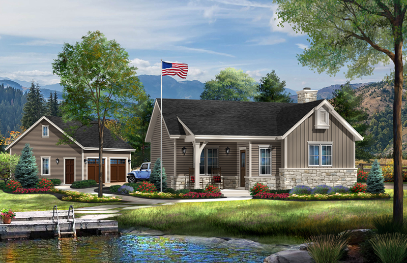 Vacation House Plan Front of Home - Sawyer Hill Cottage Home 058D-0196 | House Plans and More