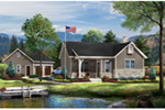 Ranch House Plan Front of House 058D-0196