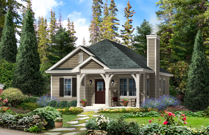 Country House Plan Front of Home - Everett Creek Country Cottage 058D-0198   House Plans and More