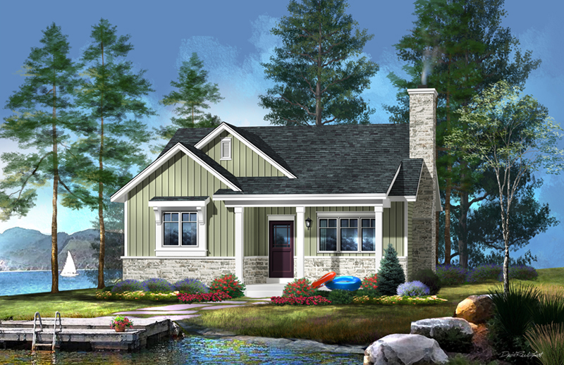 Vacation House Plan Front of Home - Brookfalls Craftsman Home 058D-0201 | House Plans and More
