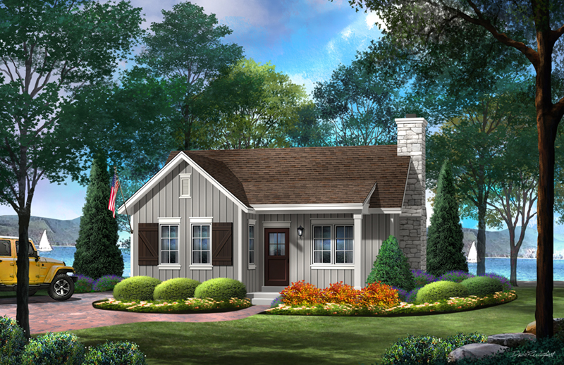 Lake House Plan Front of Home - Gatehill Rustic Cabin Home 058D-0202 | House Plans and More