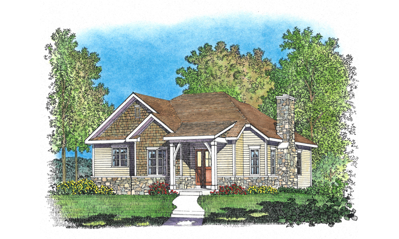 Mountain Home Plan Front of Home - Jake Creek Country Cabin Home 058D-0203 | House Plans and More