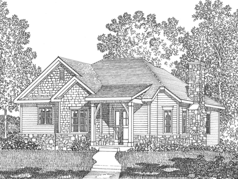 Mountain Home Plan Front Image of House - Jake Creek Country Cabin Home 058D-0203 | House Plans and More