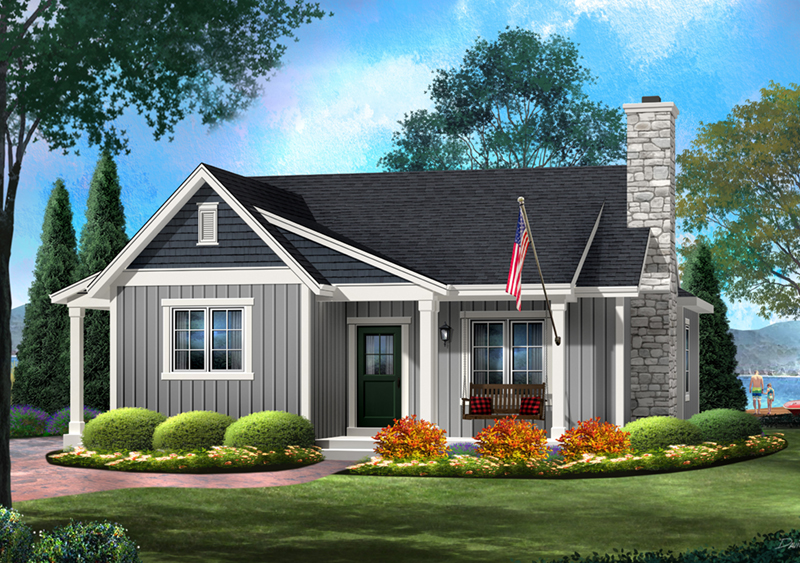 Shingle House Plan Front of Home - Kemp Woods Country Home 058D-0204 | House Plans and More