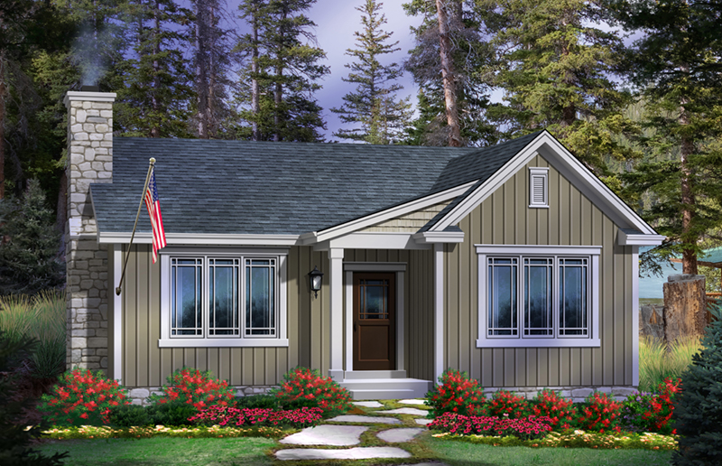 Rustic Home Plan Front of Home - Lakes Cove Country Cabin 058D-0205 | House Plans and More