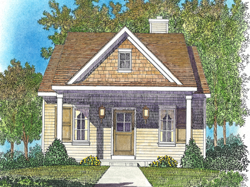 Lake House Plan Front of Home - Marie Flatts Craftsman Cabin 058D-0207 | House Plans and More