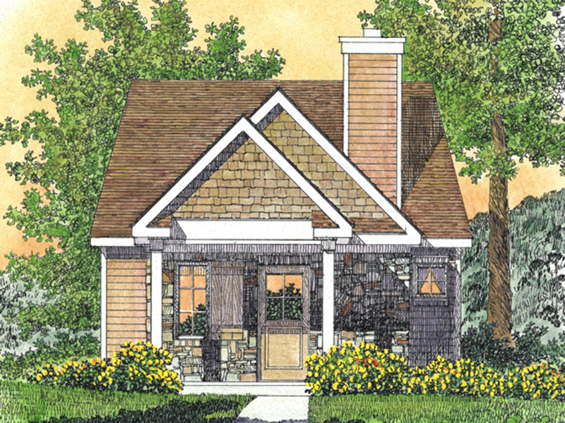 Cabin & Cottage House Plan Front of Home - Peal Hollow Country Cabin 058D-0210 | House Plans and More