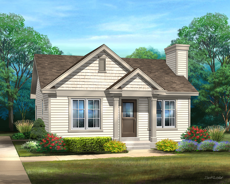 Ranch House Plan Front of Home - 058D-0211 | House Plans and More
