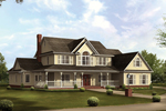 Country Style Two-Story Home Sweeping Covered Porch