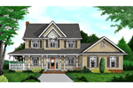 Striking Country Farmhouse With Two Stories And Covered Porch