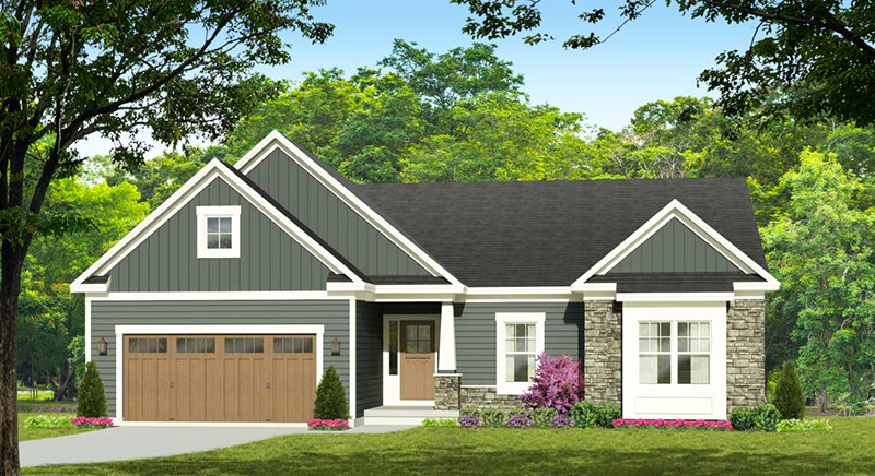 Ranch House Plan Front of Home - Doyle Lake Ranch Home 070D-0745 | House Plans and More