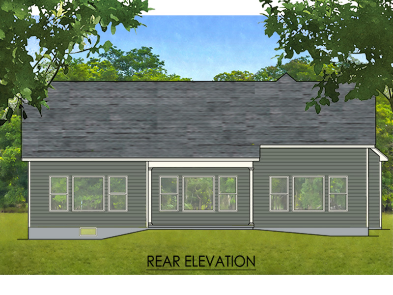 Ranch House Plan Rear Photo 01 - Doyle Lake Ranch Home 070D-0745 | House Plans and More