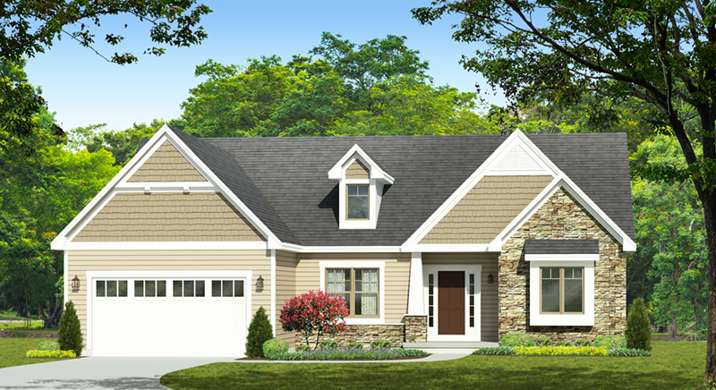 Ranch House Plan Front of Home - Corley Heights Ranch Home 070D-0746 | House Plans and More