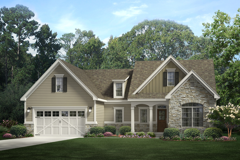 Colonial House Plan Front of Home - Bethany Bend Ranch Home 070D-0747 | House Plans and More
