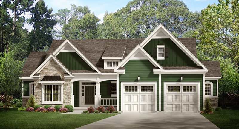 Craftsman House Plan Front of Home - Behlmann Bay Ranch Home 070D-0749 | House Plans and More