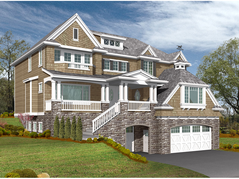 Arts & Crafts House Plan Front Image - Freestone Multi-Level Home 071S-0013 | House Plans and More