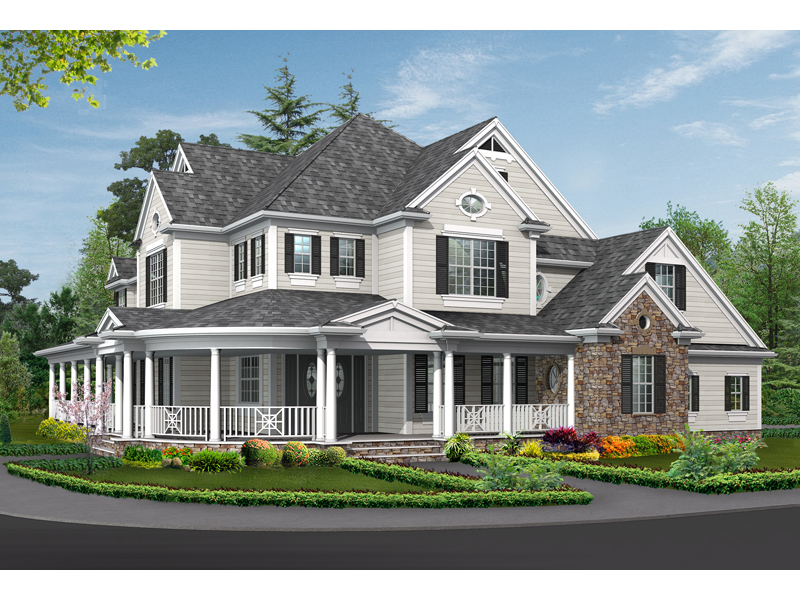 Southern House Plan Front Image - Southern Country House | Large Colonial House