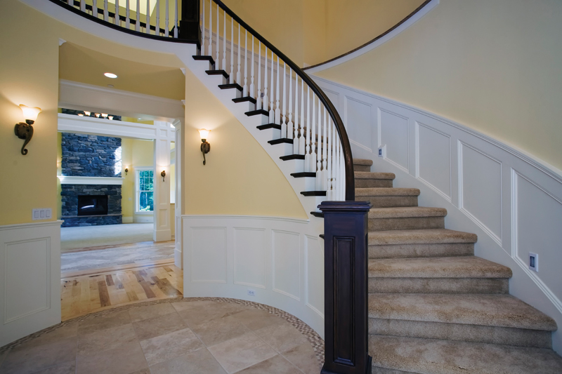 Luxury House Plan Stairs Photo - Lydelle Luxury Craftsman Home  | Luxury Craftsman Home Designs