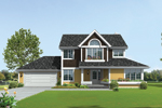 Farmhouse Style Two-Story Has Shingle Siding And Arched Window Above Door